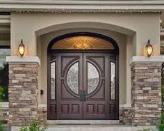 House Front Door Unique Double Front Doors with Stone Porch for Popular House Regard to 10 - Home Decoration Ideas Stone Exterior Houses, Stucco Exterior, Design Exterior, Exterior Front Doors, House Paint Exterior, Exterior House Colors, Stone Houses, Stucco Colors, Stucco Siding