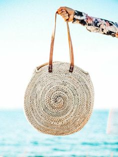 Round Straw Bag with Leather Straps d6f88f71e7ac5