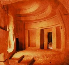 The Hypogeum in Malta is the only prehistoric underground temple in the world. The temple consists of halls, chambers and passages carved out of rock.  Thought to be originally a sanctuary, it became a necropolis in prehistoric times. The complex is grouped in three levels – the upper level (3600-3300 BC), the middle level (3300-3000 BC), and the lower level (3150 -2500 BC). The deepest room in the lower level is 10.6 meters (35 ft) underground.