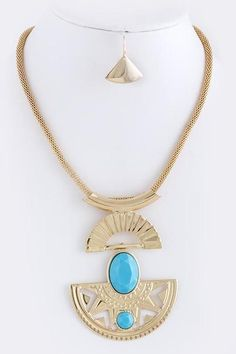 Turquoise and Gold Neckla... - M.H.W. ACCESSORIES | Scott's Marketplace