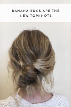 Calling It: Banana Buns Are the New Topknots Meet the banana bun. Learn how to create this effortlessly chic hair trend.Meet the banana bun. Learn how to create this effortlessly chic hair trend. Chic Hairstyles, Trending Hairstyles, Pretty Hairstyles, French Hairstyles, Quick Work Hairstyles, Banana Clip Hairstyles, Short Hair Bun, Wavy Hair, How To Bun Hair