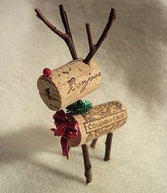 Wine cork reindeer.