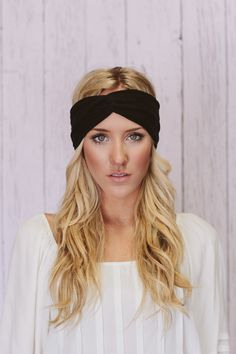 Black Turban Headband Cotton Spandex Workout Hair Bands (T02). $24.00, via Etsy.