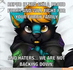 I vow NEVER to back down! We are untameable! We can be ourselves! Never let anyone stereotype you. Ever! #FurriesUnite!