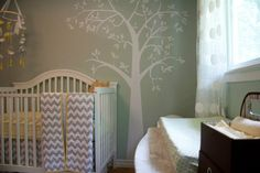 Project Nursery - Gray, White and Yellow Chevron Crib Bedding