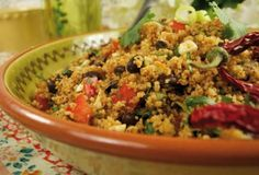 Vegan Southwest Couscous (or Quinoa) Salad Recipe from My Dairy Free Gluten Free Life.  Zippy, crunchy and bursting with flavor! This easy-to-make salad is always a hit at summer picnics. Goes great with black bean burgers or just by itself!