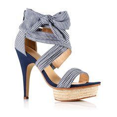 Sandales en tissu rayé à talon