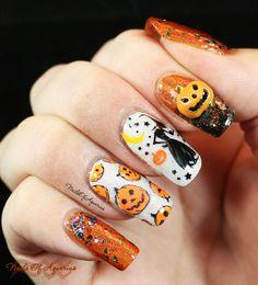 Pinned from NailsofAquarius.com: Pumpkin Patch featuring Literary Lacquers #halloweennails #halloweennailart