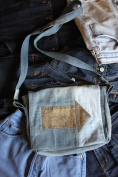 Denim on denim on denim on denim. Double denim. 1970's/1980's/1990's. Handmade, handcrafted handbag, designed and made in the UK. Unique Handbag. One of a kind denim.