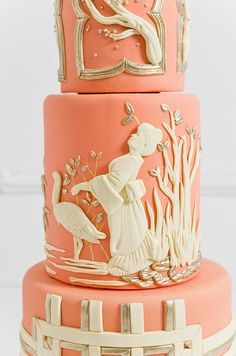 Traditional Japanese motifs drove this coral, cream and gold bas relief creation. Geisha, Tiered Cakes, Color, Theme Cakes, Cake Desserts, Wedding Cakes, White Cakes, Cake Art, Cake Opera