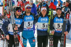 Jean-guillaume Beatrix of France wins the silver medal, Quentin Fillon Maillet of France wins the silver medal, Simon Desthieux of France wins the silver medal, Martin Fourcade of France wins the silver medal during the IBU Biathlon World Championships Men's Relay on February 18, 2017 in Hochfilzen, Austria.