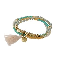 Wholesale turquoise peach three strand stretch bracelet mini tassel gold accents