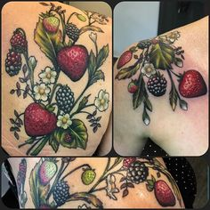 Cute over the shoulder berries piece. The back is all healed, finished the front of the shoulder off today.