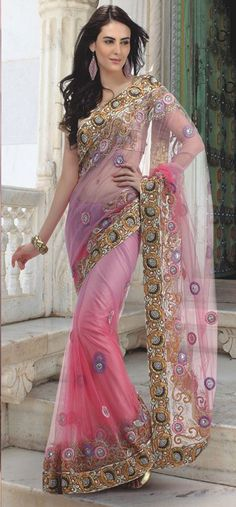 #Pink & #Gold #Saree - £165.00. For full product information vist: http://www.reevaonline.co.uk/sarees/pink-and-lilac-net-saree-with-blouse-fabric.html
