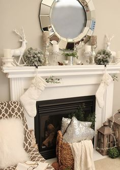 picture-of-neutral-mantel-decor-with-silver-candle-holders-and-vases-a-deer-and-flocked-fir-balls
