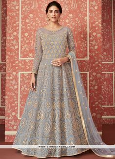 Powder Blue Butterfly Net Heavy Embroidered Wedding Wear Anarkali Suit For Women Product Details : Wow your upcoming function by drapping this powder blue color anarkali suit. Crafted of butterfly net, this floor length anarkali suit comes with satin Robe Anarkali, Costumes Anarkali, Indian Anarkali, Anarkali Suits, Pakistani Dresses, Designer Anarkali, Designer Gowns, Designer Kurtis, Party Wear Lehenga