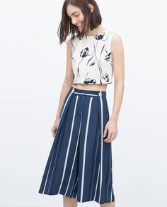 Image 2 of STRIPED CULOTTES from Zara