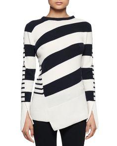 Multi-Stripe Asymmetric-Hem Sweater, Ivory/Navy, Women's, Size: XX-LARGE - Alexander McQueen