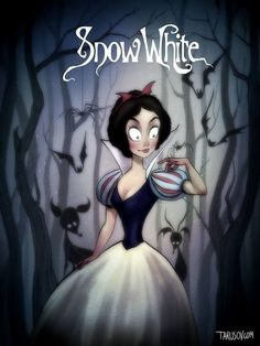 And Snow White is suddenly dealing with a totally different class of forrest animals. | Here's What Your Favorite Disney Characters Would Look Like If Tim Burton Created Them