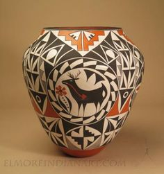 Acoma Pottery: Acoma Polychrome Jar by Sarah Garcia Native American Pottery, Native American Art, Pottery Painting, Pottery Vase, South American Art, Native American Paintings, Pueblo Pottery, Native Art, Native Indian