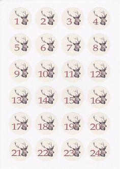 Etiketten - Aufkleber Adventskalender Zahlen - ein Designerstück von Fotokunst-und-Karten bei DaWanda