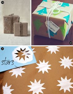 gift wrap ideas: drawing & twine, potato stamped, stencils - created at: 12/06/2012