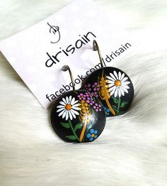 Estonian jewelry / handmade painted cameo earrings with by DRISAIN