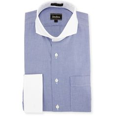 Neiman Marcus Classic-Fit Non-Iron Striped Dress Shirt (£34) ❤ liked on Polyvore featuring men's fashion, men's clothing, men's shirts, men's dress shirts, blue, mens blue shirt, mens cotton dress shirts, men's no iron dress shirts, mens striped dress shirts and mens non iron dress shirts