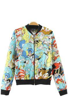 Cartoon Pattern Print Long Sleeves Mesh Bomber Jacket