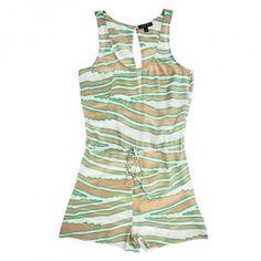 La Fee Verte Silk Zebra Open-Back Romper