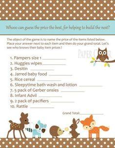 Neutral Woodland Animal Baby Shower Game by kirsten