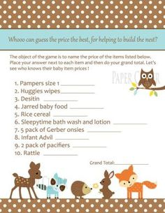 Neutral Woodland Animal Baby Shower Game by kirsten