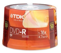 TDK 16X DVD-R 50 Pack Spindle by TDK. $17.95. From preserving family memories to protecting important data, TDK 4.7GB DVD-R media offers the widest compatibility with computer drives and home DVD players.  Ideal for general purpose recording, a single TDK DVD-R has ample capacity for thousands of digital photos, up to six hours of video and behemoth mission-critical data files.  Each DVD-R disc can be fully recorded once.  As DVD recording speeds have increased, the impo...