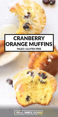 These gluten free orange cranberry muffins are quick and easy to make in just one bowl in 35 minutes. They're made with almond flour and tapioca flour are packed with fresh citrus, dried cranberries and a dairy-free orange icing on top. Paleo friendly and easily adapted to be Vegan friendly too. | #paleo #vegan #muffins #orange #cranberry #glutenfree #dairyfree Simple Muffin Recipe, Healthy Muffin Recipes, Healthy Brunch, Brunch Recipes, Breakfast Recipes, Snack Recipes, Snacks, Vegan Muffins, Healthy Muffins