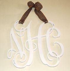 "18"" Wooden monogram hung with burlpa ribbon"
