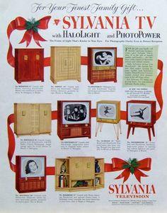 """1953 Vintage Ad Sylvania TVs w """"Halolight Photopower"""" Mid Century Modern"""