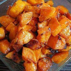 Roasted Sweet Potatoes 3 Sweet potatoes peeled and cut into bite size cubes 2 tsp olive oil 1 tbsp butter 1 tbsp of brown sugar (organic) 1 tsp of ground cinnamon 1/4 tsp of ground nutmeg Pinch of ground ginger Sea salt to taste