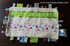"""Tag"" Blanket  - this ladys website has a lot of dyi cheap or free things to make!"