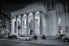 Manchester Central Library portico at night (bw)photo from the archive of Aidan O'Rourke Tutor Photographer Manchester Liverpool Manchester Central, Beautiful Library, Central Library, Salford, Republic Of Ireland, British Isles, Northern Ireland, Libraries, Liverpool