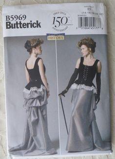 Butterick B5969 Sewing Pattern Steampunk Victorian Era Corset, Skirt, Size E5 14 - 22