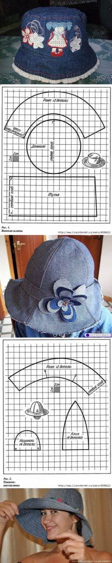 Panamanians and hats from jeans + patterns. Hat Patterns To Sew, Doll Patterns, Sewing Patterns, Sewing For Kids, Baby Sewing, Sewing Tutorials, Sewing Projects, Sewing Dress, Patterned Jeans