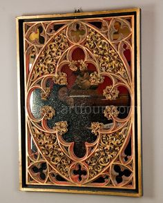 carved wood neo gothic mirror 1890