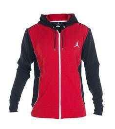 JORDAN Full zip track hoodie Long sleeves Front mesh for ventilation 2 side zip pockets Stretch fabric for comfort Adjustable drawstring on hood
