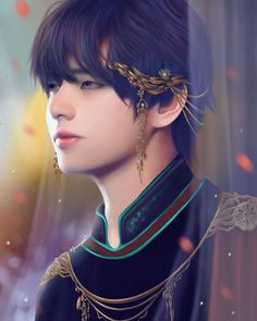 Imagine Tae as a prince with all these gold ornaments decorating him it'll be so damn hot damn Bts Taehyung, Taehyung Fanart, Daegu, Kpop, Grand Prince, V Bts Cute, V Bts Wallpaper, Bts Drawings, Foto Art