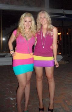 Tasha wearing Calypso Neon Orange Skirt & Fran wearing Tutti Frutti Neon Yellow Skirt by Sex Kitten Couture