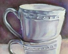 White Mugs by MariaTepperPaintings on Etsy