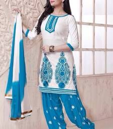 Buy White and Blue embroidered Cotton unstitched salwar with dupatta patiala-salwar online