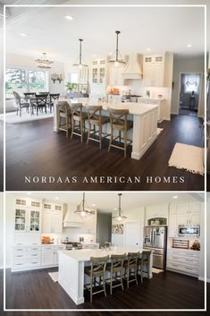 Nordaas American Homes built this custom white modern farmhouse kitchen. It's complete with custom cabinetry island with seating open concept to the dining and living room with plenty of storage. Nordaas builds all across the upper MidWest! Nordaas A Farmhouse Kitchen Interior, Modern Farmhouse Kitchens, Farmhouse Homes, Craftsman Kitchen, Vintage Farmhouse, Dark Kitchen Floors, Kitchen Flooring, Open Kitchen And Living Room, Kitchen White