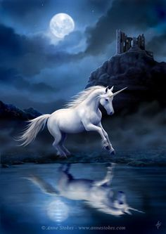 Fantasy Art - Moonlight Unicorn by Anne Stokes