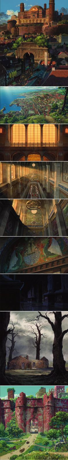 Tales From Earthsea. Directed by Gorō Miyazaki and produced by Studio Ghibli. Studio Ghibli Art, Studio Ghibli Movies, Art Et Illustration, Illustrations, Fantasy City, Fantasy World, Environment Concept, Environment Design, Hayao Miyazaki